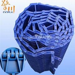蓝色POM塑料输送链板加挡块 罐瓶子化工厂高耐磨耐碱性板式输送链