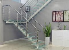 高档直梁楼梯,碳钢玻璃楼梯,直梁楼梯定做,YD-ZT1
