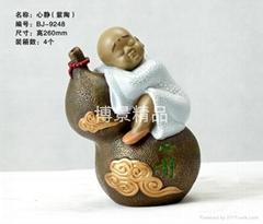 茶文化小沙弥树脂摆件工艺品