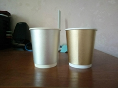 Double wall disposable paper cup for coffee