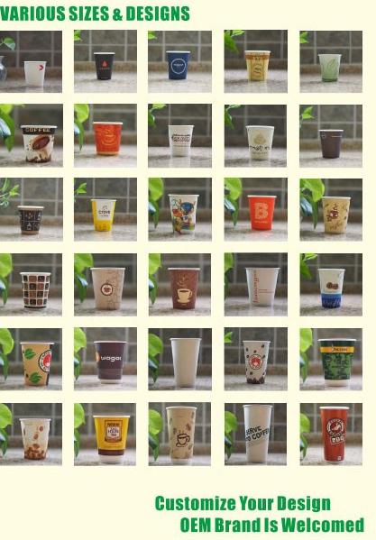 3-24oz Low moq single wall wall paper cup 4