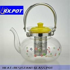 Tableware Handblown 1600ml Transparent Borosilicate Glass Teapot