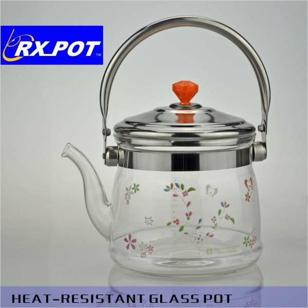 Flowering tea teapot,infuser glass teapot,borosilicate glass teapot 1