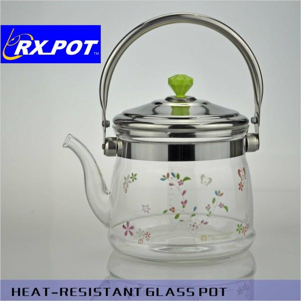 Flowering tea teapot,infuser glass teapot,borosilicate glass teapot 2