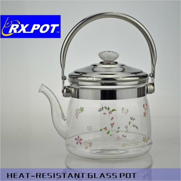 Flowering tea teapot,infuser glass teapot,borosilicate glass teapot 3