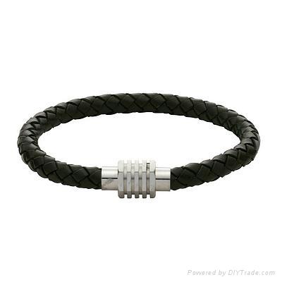leather/stainless steel bracelet 1