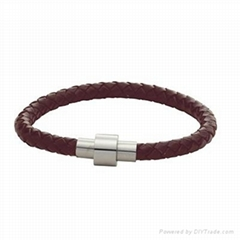 leather/stainless steel bracelet