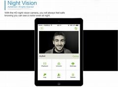 Smartphone app unlock infrared rainproof video wifi wireless outdoor doorbell in