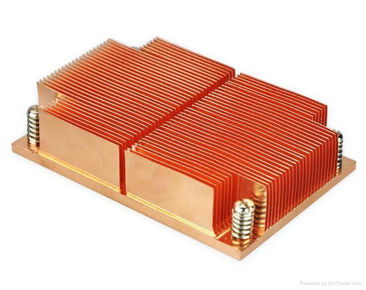Intel LGA 2011/1155/1156/1356 Standard Copper skived 1u cpu heat sink 1