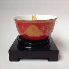 成都金边红釉寿碗定做烤字