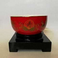金边红釉寿碗龙凤寿桃寿碗