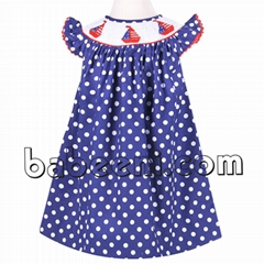 Nice sailboat smocked bishop dress for girl