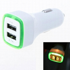 Universal 3-Port USB Car Charger Adapter With Led lightfor Cellphone Tablet PC