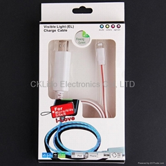 EL Visible Flowing Light Lightning 8Pin USB Data Cable For iPhone 5 6 (85cm)