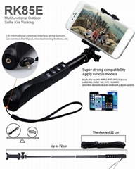 RK85E Phone Gopro Multi 7 in 1 Aluminium Monopod Bluetooth Handle Selfie Holder