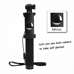 Foldable ST09 Wired Selfie Monopod w/ Mirror for Phone