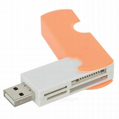 4-in-1 MicroSD / TF + SD + MS + M2 Card Reader with USB Flash Drive Function