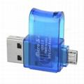 Rotary USB 2.0 to Micro USB OTG Adapter + TF Card Reader