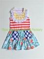New Arrived Bird Print Swing dress yellow bib red stripe top featured polka dot  2