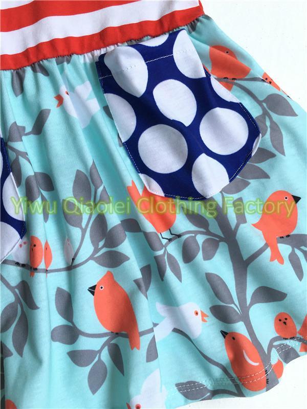 New Arrived Bird Print Swing dress yellow bib red stripe top featured polka dot  5