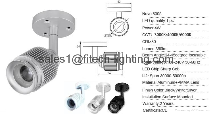 ceiling lighting zoomable surface mounted led ceiling light for art gallery 4W S 3