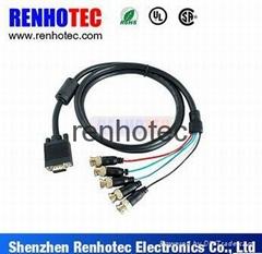 CCTV RGB VGA D SUB DB 15 Pin to 5 Male BNC Coaxial Connectors Cable