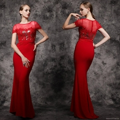 Elegant Red Lace Evening Gowns Appliques Chiffon Long Prom Dresses