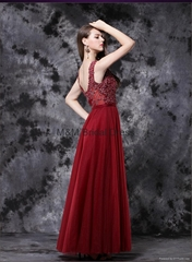 Newest Fuchsia Sleeveless Evening Gowns 2017 A-Line Tulle Beadings Prom Dress