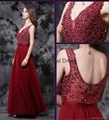 Newest Fuchsia Sleeveless Evening Gowns 2017 A-Line Tulle Beadings Prom Dress 5