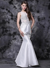 Mermaid White Modern Beads Sleeveless Sweep-Train Sweetheart Prom Dress