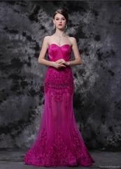 Pink Gorgeous Sweetheart Sheath A-Line Long Strapless Evening Dresses