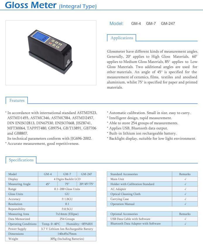 Multi-Angle Glossmeter GM-247 20/45/75 Degree Gloss Meter 0.1-200 GU 6