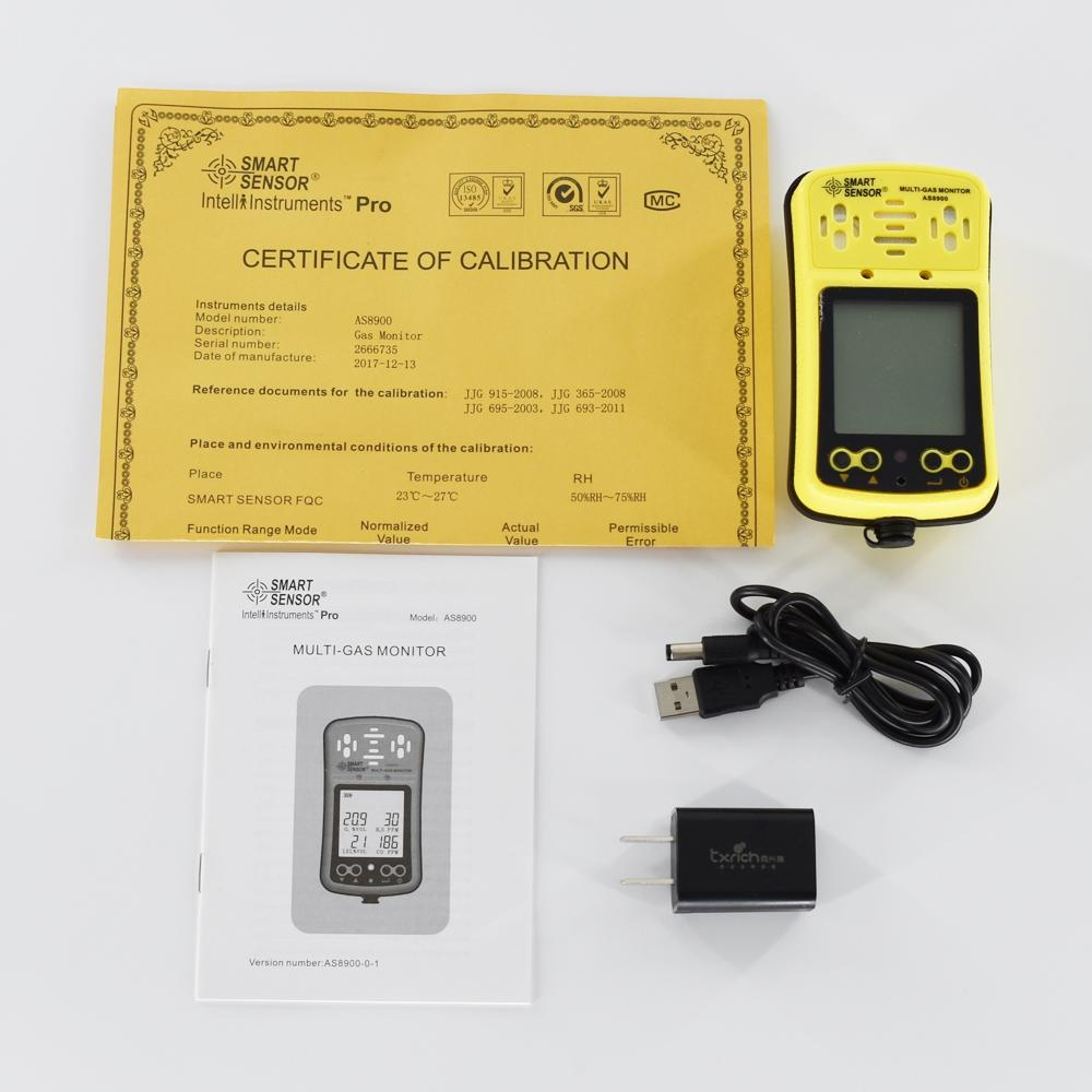 Multi Gas Monitor Detector 4 in 1 AS8900 CO O2 H2S Combustible Gas leakage 5