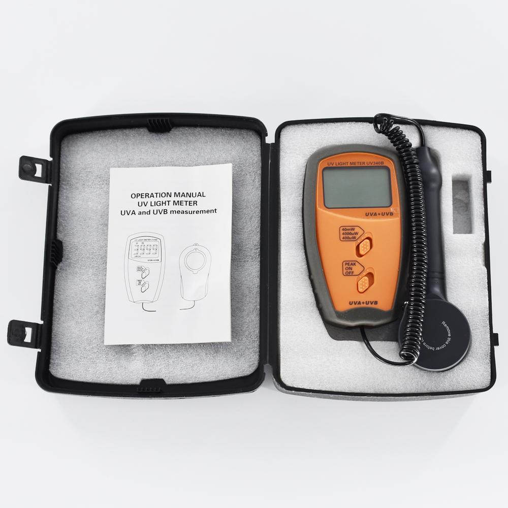 UV Light Meter UV Radiometers UV340B Measurable UVA and UVB 0-40mW/cm2 Peak hold 6