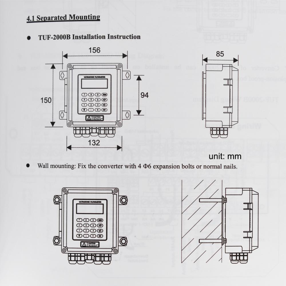 Ultrasonic flow meter liquid flowmeter IP67 protection TUF-2000B DN50-700mm TM-1 6