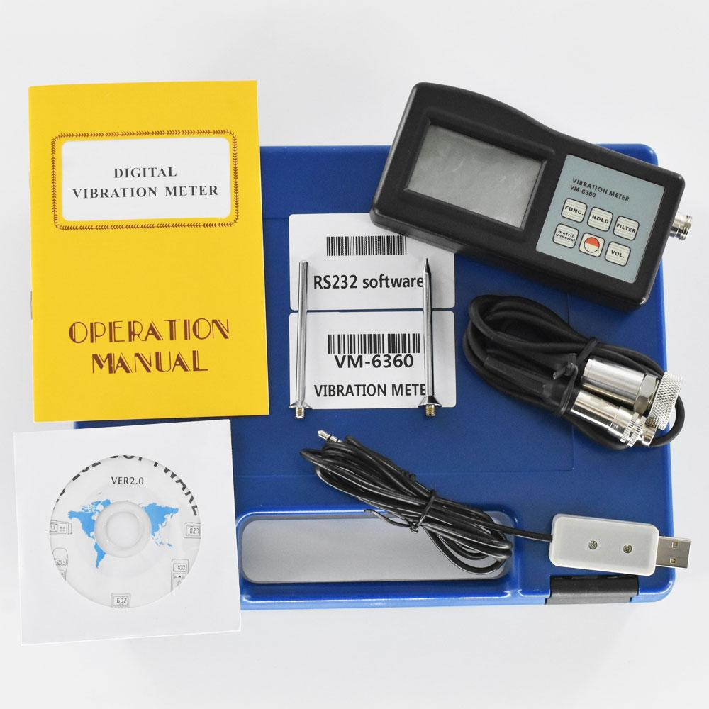 VM-6360 Digital Vibration Tester Meter Analyzer with CD Software and Cable