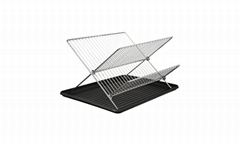 2 Tiers Metal Folding Drain Dish Rack with plastic tray