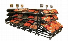 3 Tier Adjustable Shelf Mobile Fruits Display Rack