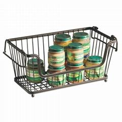 Large Rectangular Stacking Wire Basket, Metal