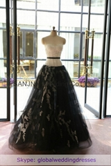 Lace Ivory Strapless A-line Floor-length Wedding Dress black prom dress WD1506-0