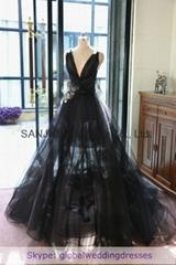 2016 Wedding Dress Black V-neck A-line Floor-length bridal dresses WD1506-004