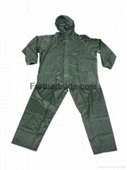 R-0910-6 GREEN POLYESTER NYLON RAINCOAT FOR MEN