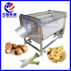 自动土豆萝卜毛刷脱皮清洗机