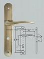 door handle on plate