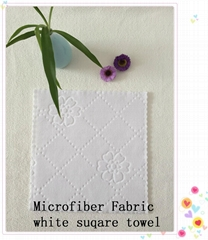Microfiber Fabric white suqare towel1