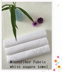 Microfiber Fabric white suqare towel2