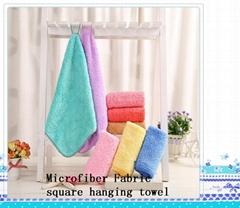 Microfiber Fabric square hanging towel1