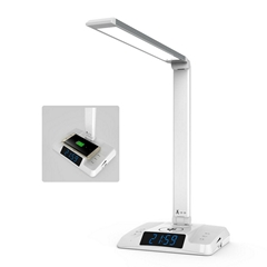 Smart LED desk lamp with wireless charging and Bluetooth speaker