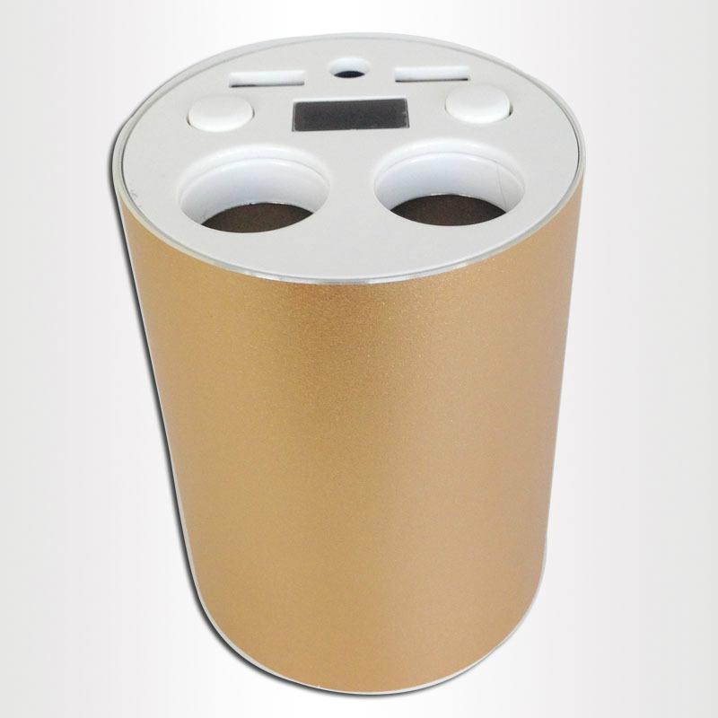 2 in 1 dual USB + ciggrett socket gold cup car charger 1