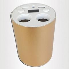 2 in 1 dual USB + ciggrett socket gold cup car charger